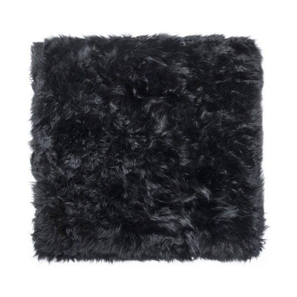 Černý koberec z ovčí kožešiny Royal Dream Zealand Square, 70x70cm
