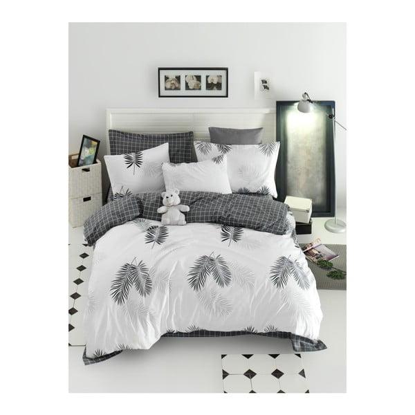 Lenjerie de pat cu cearșaf din bumbac ranforce, pentru pat dublu Mijolnir Pipong White & Grey, 200 x 220 cm