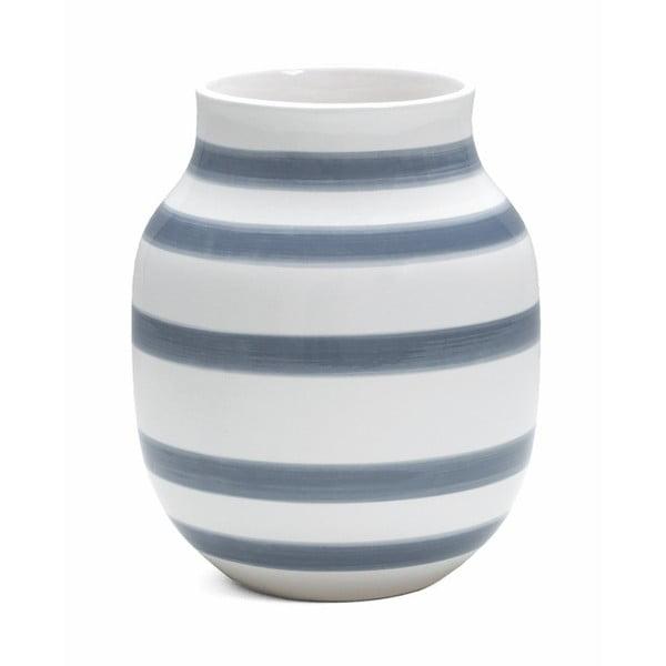 Svetlomodro-biela kameninová váza Kähler Design Omaggio, výška 20 cm