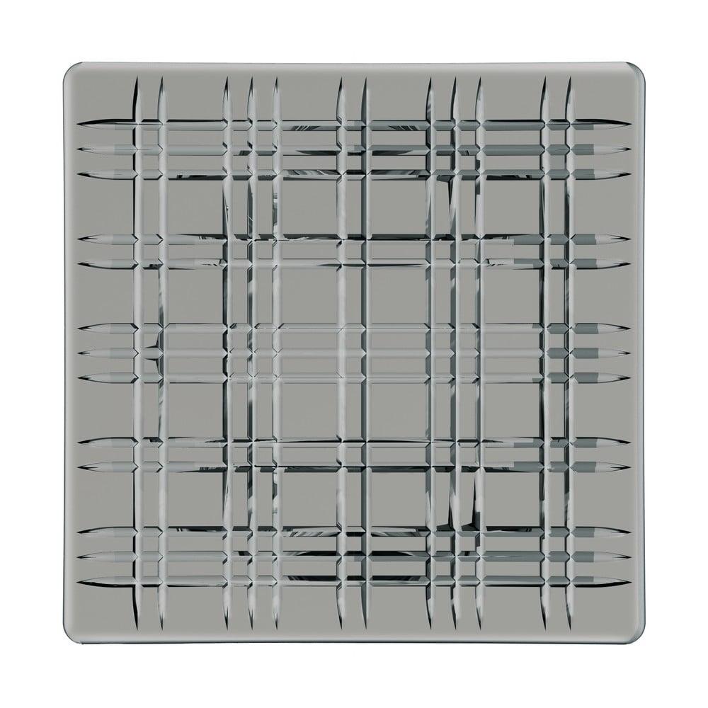 Šedý čtvercový talíř z křišťálového skla Nachtmann Square Platter Smoke, 28 x 28 cm