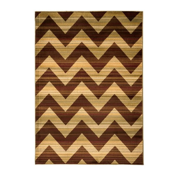 Hnědý vysoce odolný koberec Floorita Inspiration Zig Zag Duro, 140 x 195 cm