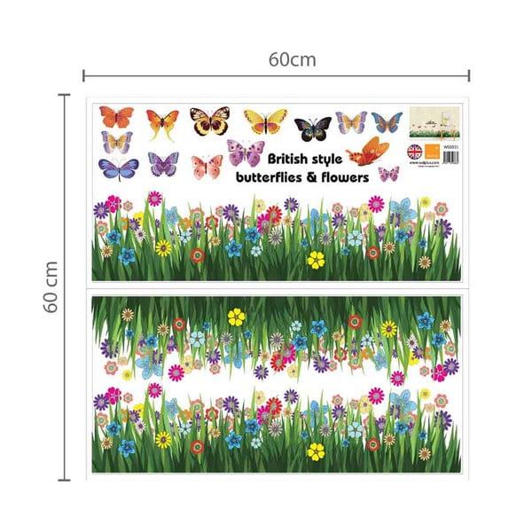Samolepka na stěnu Tráva s motýlky