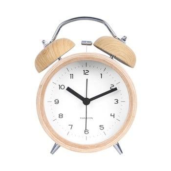 Ceas alarmă cu decor ca de lemn Karlsson Classic, alb, ⌀ 10 cm imagine