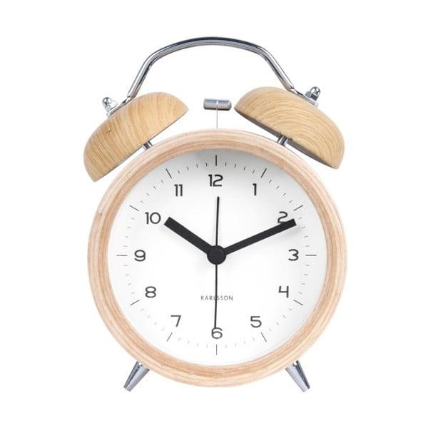 Ceas alarmă cu decor ca de lemn Karlsson Classic, alb, ⌀ 10 cm