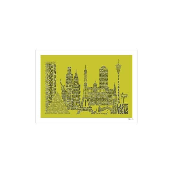Plakát Las Vegas Green&Grey, 50x70 cm