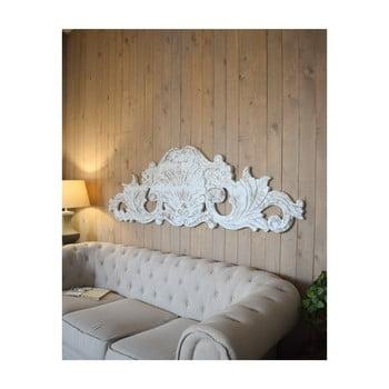 Decorațiune de perete din lemn de mango Orchidea Milano Antique, lungime 180 cm, alb imagine