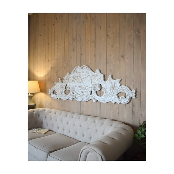 Decorațiune de perete din lemn de mango Orchidea Milano Antique, lungime 180 cm, alb