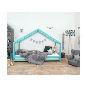 Tyrkysová dětská postel z lakovaného smrkového dřeva Benlemi Sidy, 70 x 160 cm
