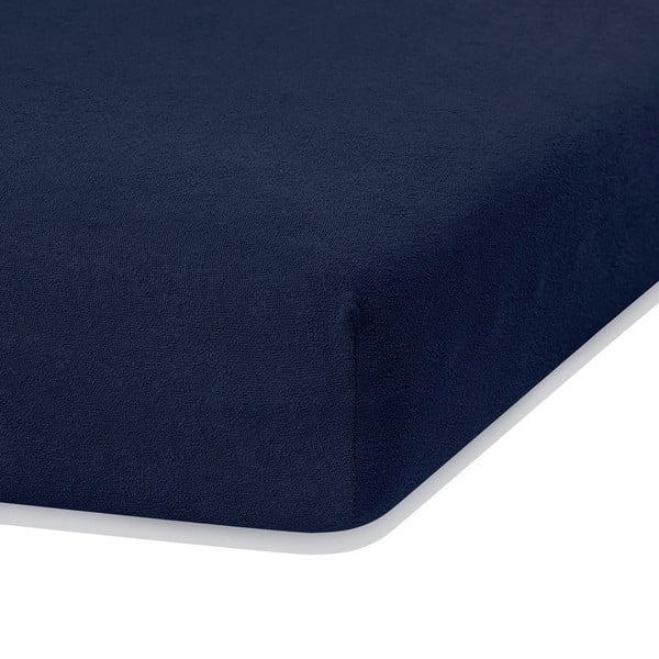 Námornícky modrá elastická plachta s vysokým podielom bavlny AmeliaHome Ruby, 200 x 160-180 cm