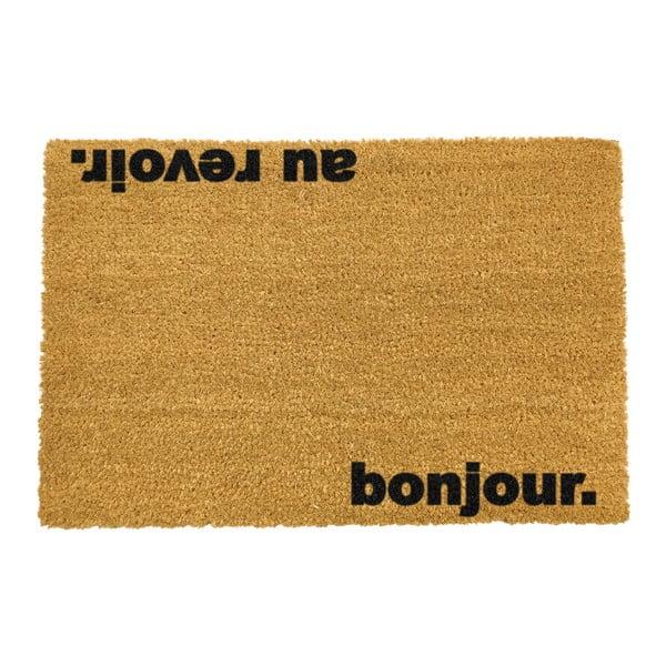 Rohožka z prírodného kokosového vlákna Artsy Doormats Bonjour Au Revoir, 40 x 60 cm