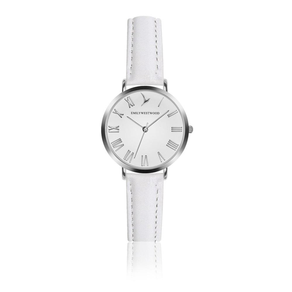 Dámské hodinky s bílým páskem z pravé kůže Emily Westwoood Pastel