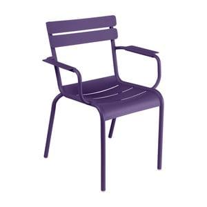 Fialová zahradní židle s područkami Fermob Luxembourg