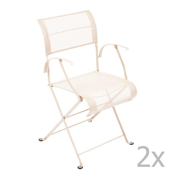 Sada 2 krémových skládacích židlí s područkami Fermob Dune