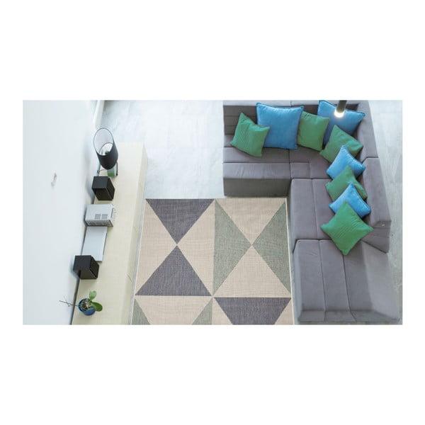 Covor foarte rezistent Floorita Geo, 135 x 190 cm, albastru