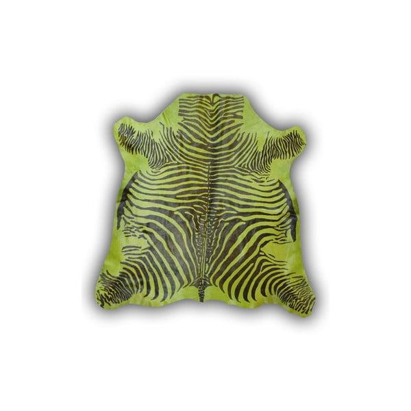 Kožená předložka Normand Cow Zebra Green, 170x190 cm