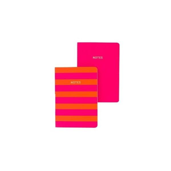 Set 2 caiete A6 GO Stationery Stripe, roz - portocaliu