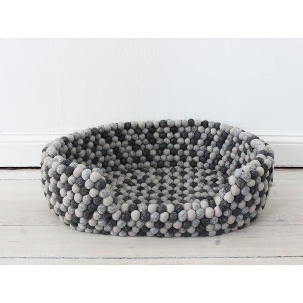 Tmavě šedý kuličkový vlněný pelíšek pro domácí zvířata Wooldot Ball Pet Basket, 40 x 30 cm