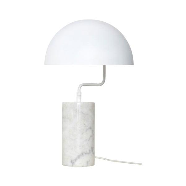 Bílá stolní železná lampa s detaily z mramoru Hübsch Gero