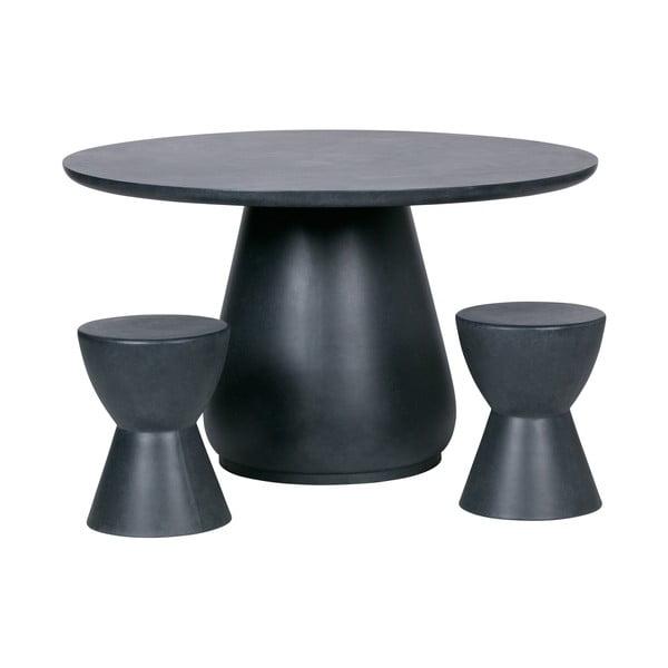 Antracitově šedá stolička vhodná i do exteriéru WOOOD Dover, ø35cm