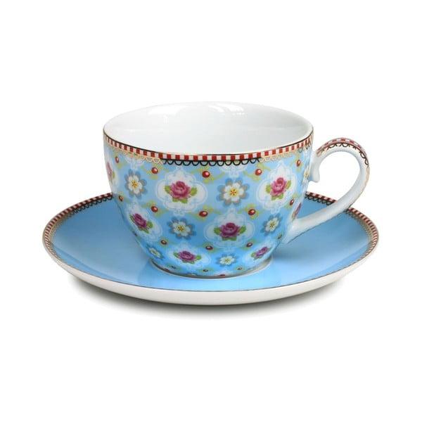 Hrneček na cappucino s talířkem, modrý
