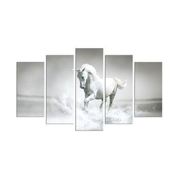Tablou din mai multe piese White Horse, 110 x 60 cm