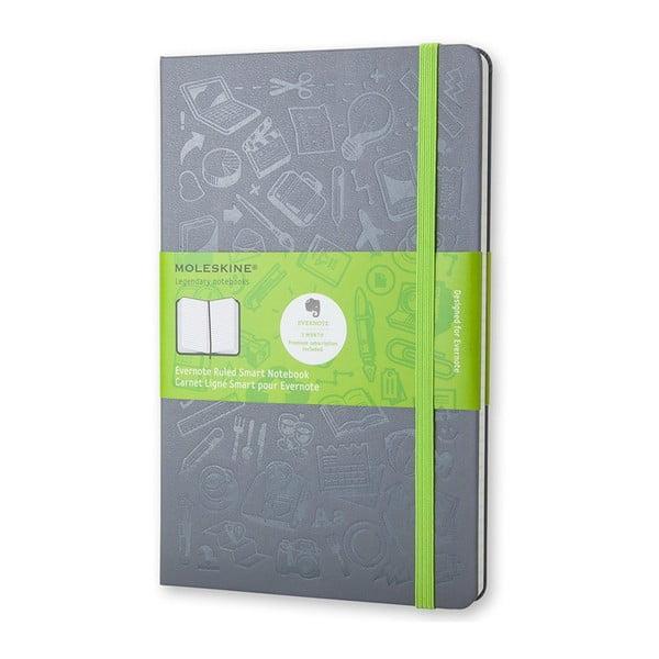 Sivý linajkový zápisník v pevnej väzbe Moleskine, 240 strán