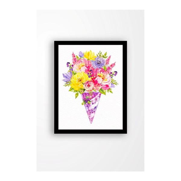 Nástěnný obraz na plátně v černém rámu Tablo Center Bouquet, 29 x 24 cm