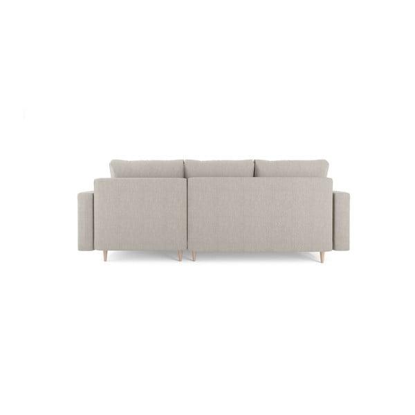 Béžová čtyřmístná rozkládací pohovka s úložným prostorem Mazzini Sofas Aubrieta, pravý roh