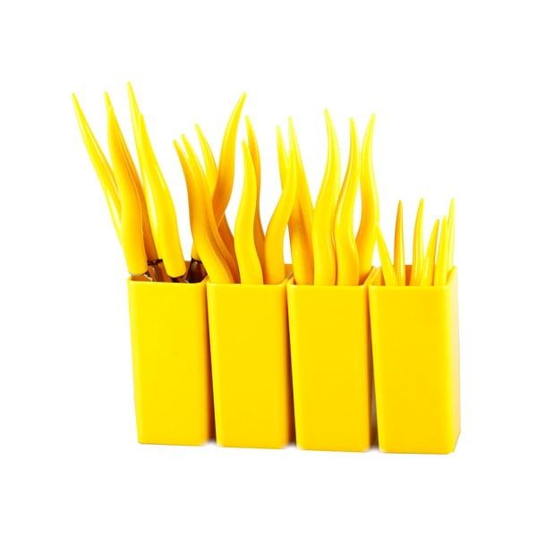 Set de tacâmuri Vialli Design Tullio, 24 de piese, galben