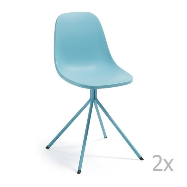 Sada 2 modrých jídelních židlí La Forma Mint