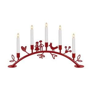 Svícen s LED světýlky Dena, červený