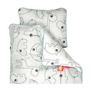 Lenjerie de pat pentru copii Done by Deer Contour, 100 x 140 cm, albastru