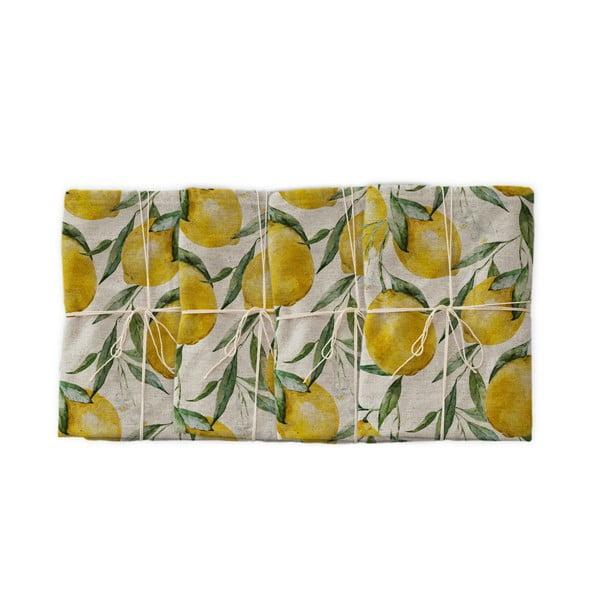 Komplet 4 szt. materiałowych serwetek z domieszką lnu Linen Couture Lemons, szer. 40 cm
