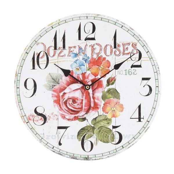 Dřevěné nástěnné hodiny Beautiful Roses, 34 cm
