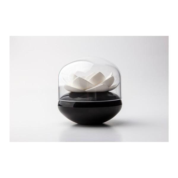Suport bețișoare pentru urechi Qualy&CO Lotus Cotton Bud, alb-negru