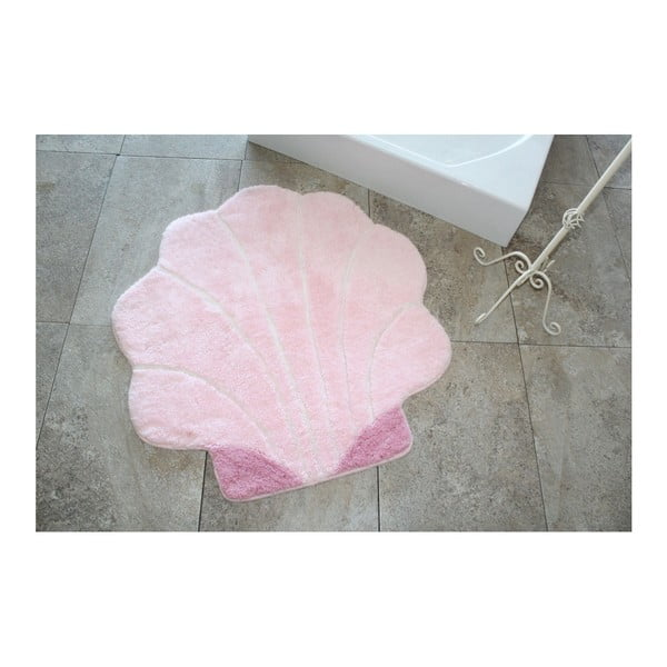 Růžová koupelnová předložka ve tvaru mušle, 90 x 90 cm