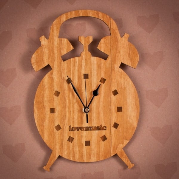 Dřevěné hodiny Budík