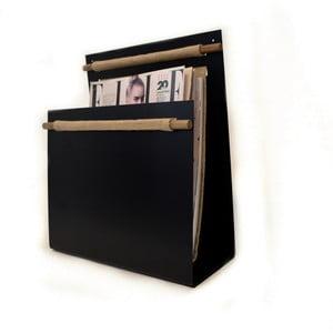 Stojan na noviny s dřevěnými prvky, černý