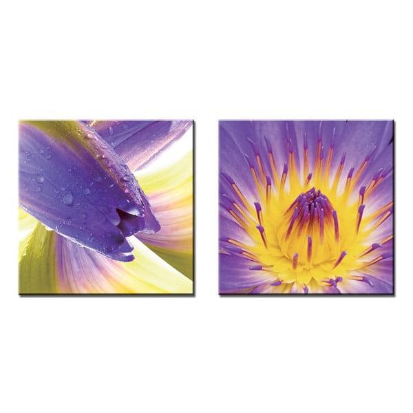 Sada 2 obrazů Purple Sun, 120x60 cm