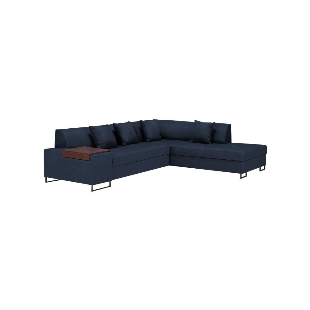 Modrá rohová rozkládací pohovka s nohami v černé barvě Cosmopolitan Orlando, pravý roh