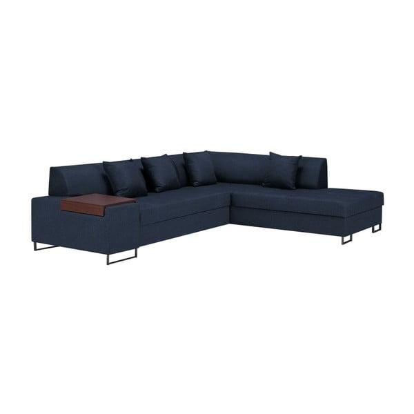 Canapea extensibilă pe colț cu picioarele de culoare neagră Cosmopolitan Orlando, pe partea dreaptă, albastru