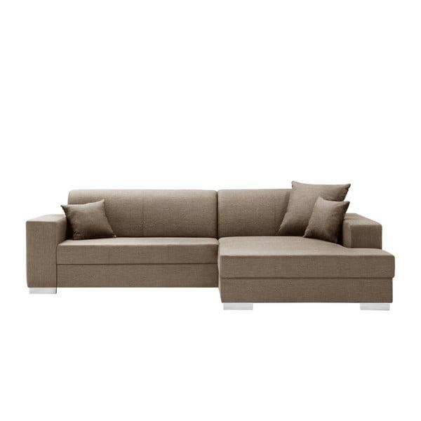 Canapea cu șezlong partea dreaptă Interieur De Famille Paris Perle, maro deschis