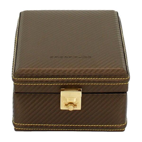 Čokoládově hnědý box na čtvery hodinky Carbon