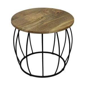 Odkládací stolek s deskou  z mangového dřeva HSM collection Crown, ⌀40cm
