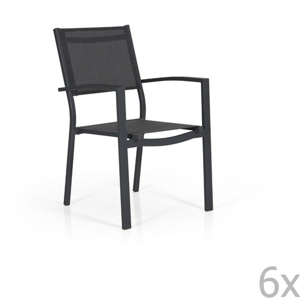 Sada 6 černých zahradních židlí Brafab Leone