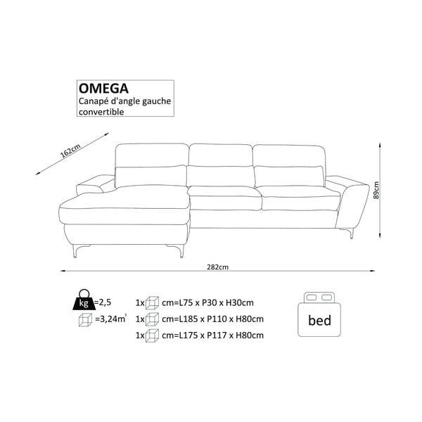 Tyrkysová rozkládací rohová pohovka Windsor & Co Sofas Omega, pravý roh