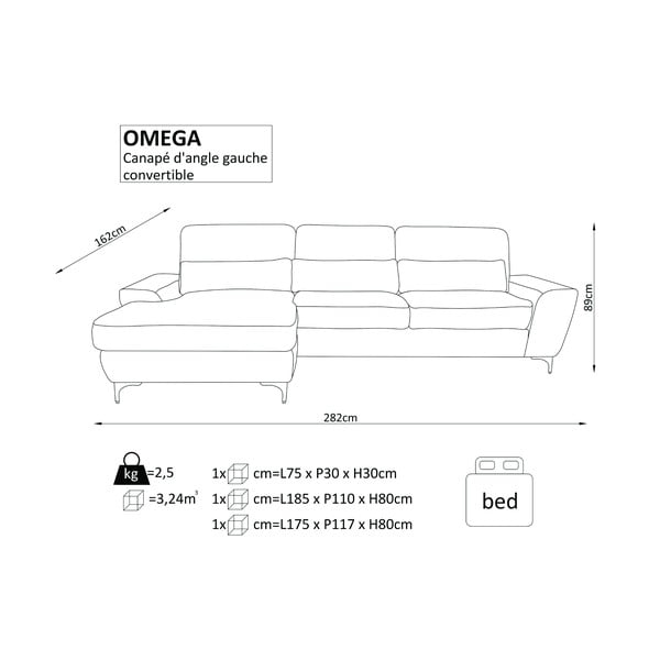 Tmavě šedá rozkládací rohová pohovka Windsor & Co Sofas Omega, pravý roh