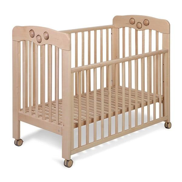 Łóżeczko drewniane na kółeczkach z wbudowaną zabawką YappyKids Play, 120x60 cm