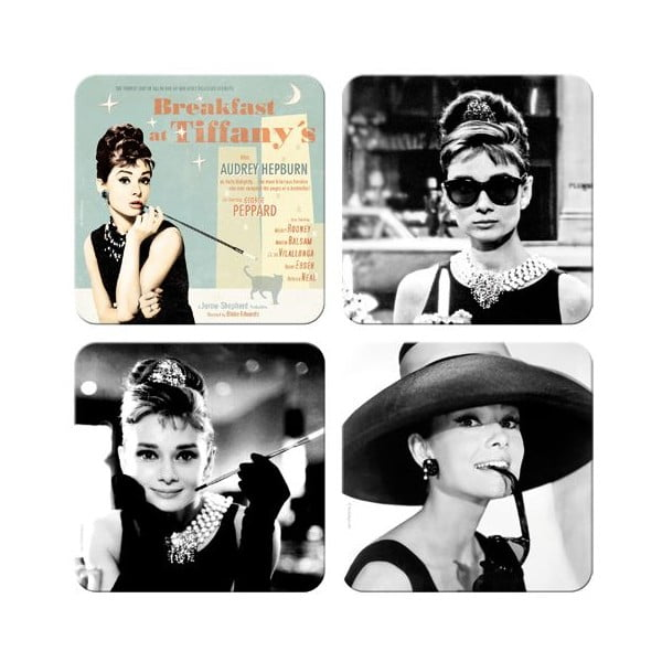 Plechové tácky Audrey Hepburn, 4 ks