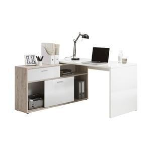 Pracovní stůl v dekoru dubového dřeva s bílými detaily 13Casa Dexter
